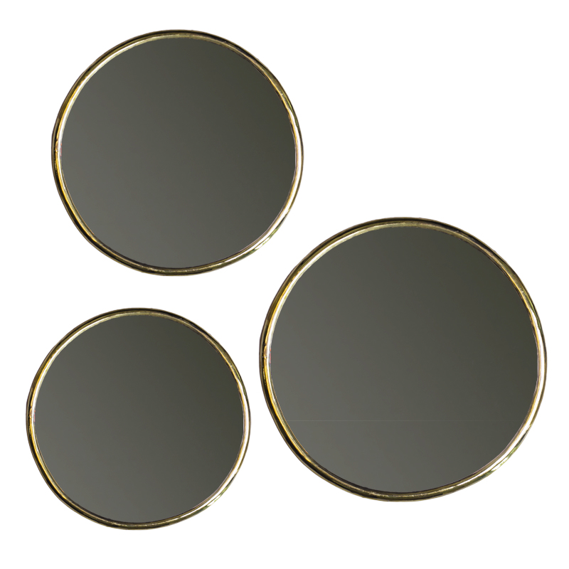 mirror circle set of three pcs with thin copper edge