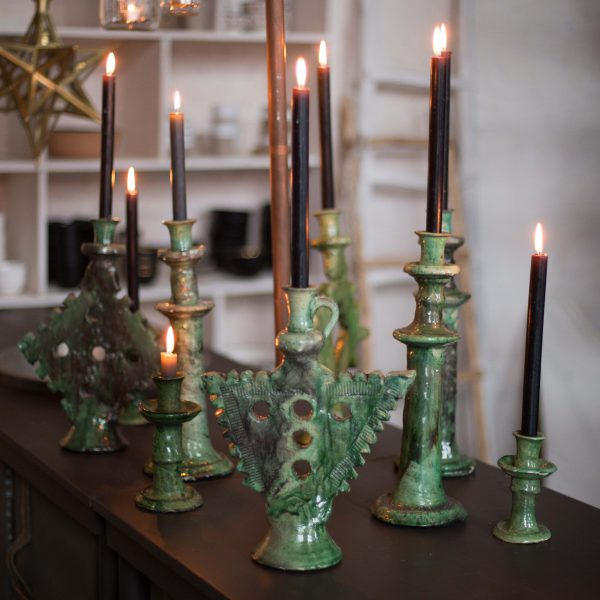 candle holder ornament green/mustard