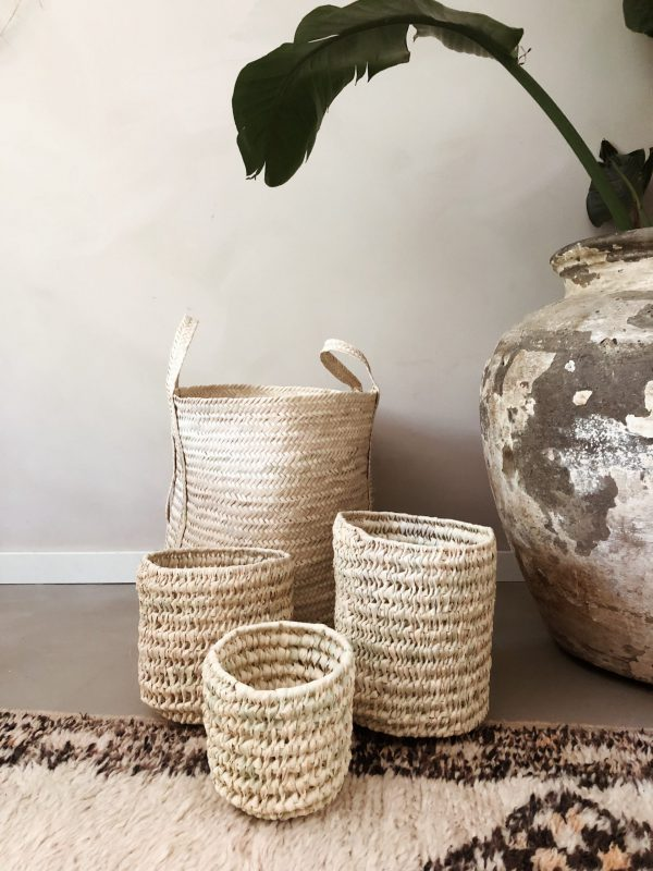 Handmade baskets from palm leaves