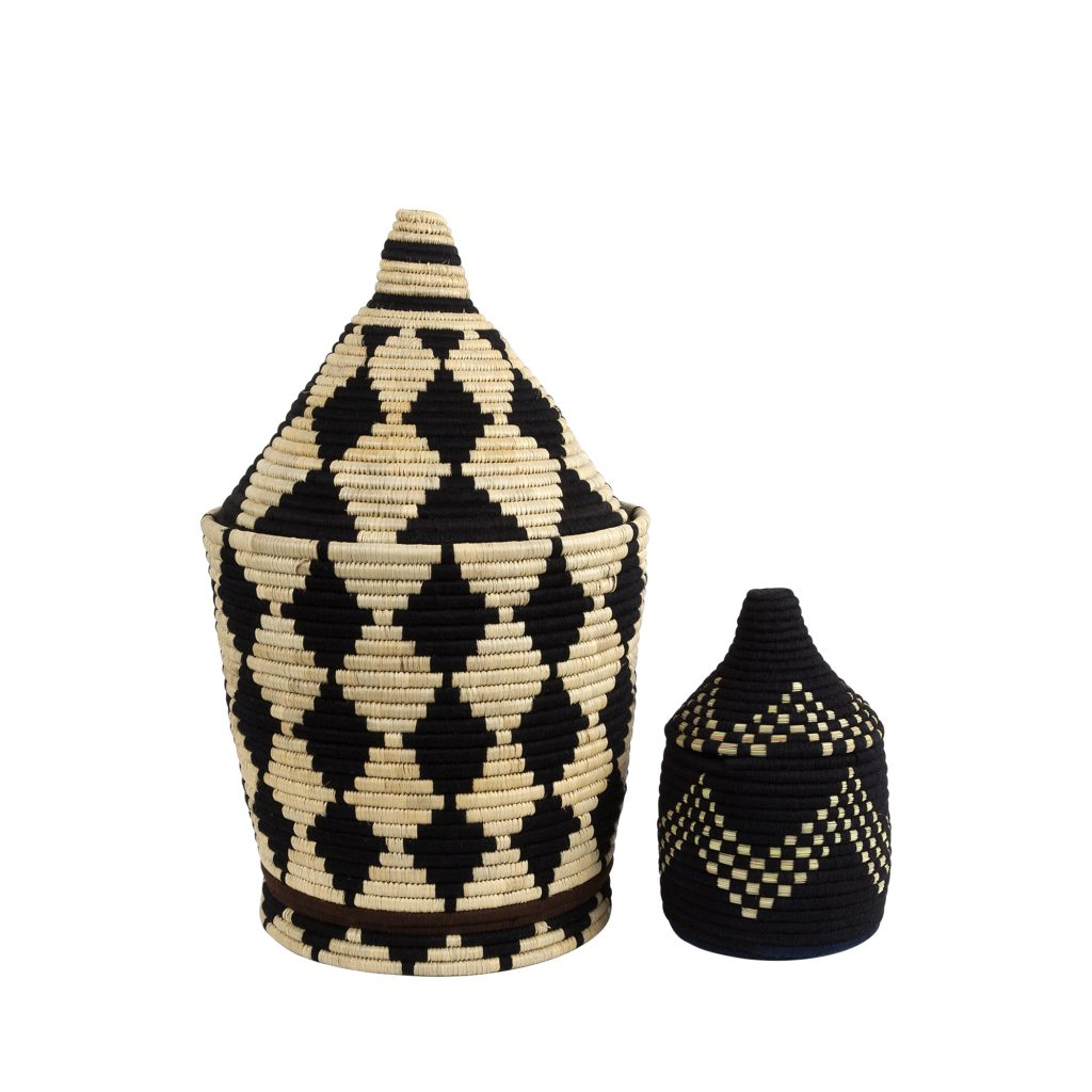 Berber basket S-M straw/black