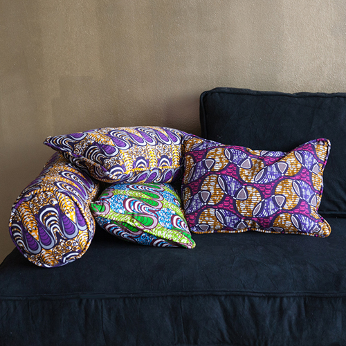 Cushion cover African print drop orange