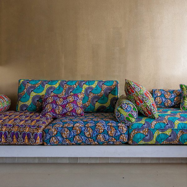 Cushion cover African print drop green