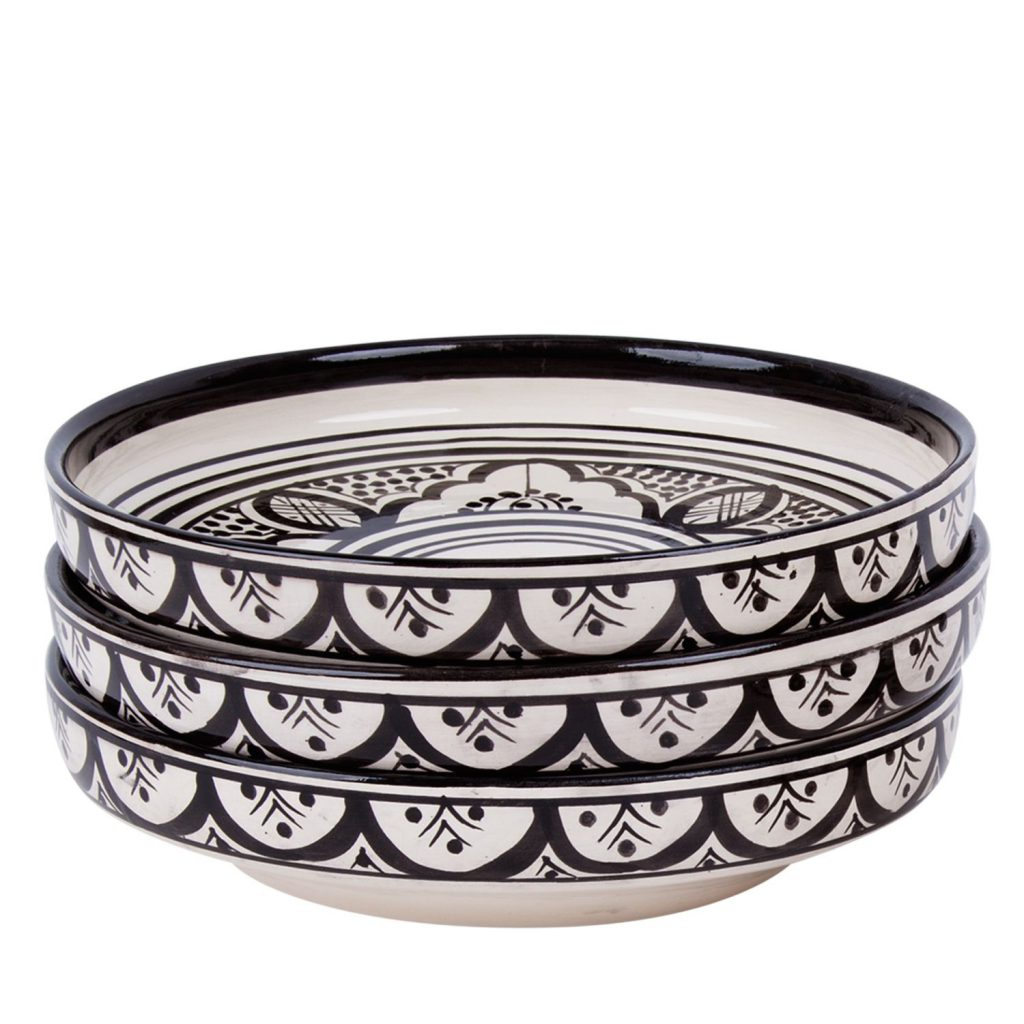 Ceramic bowl Moroccan pattern black
