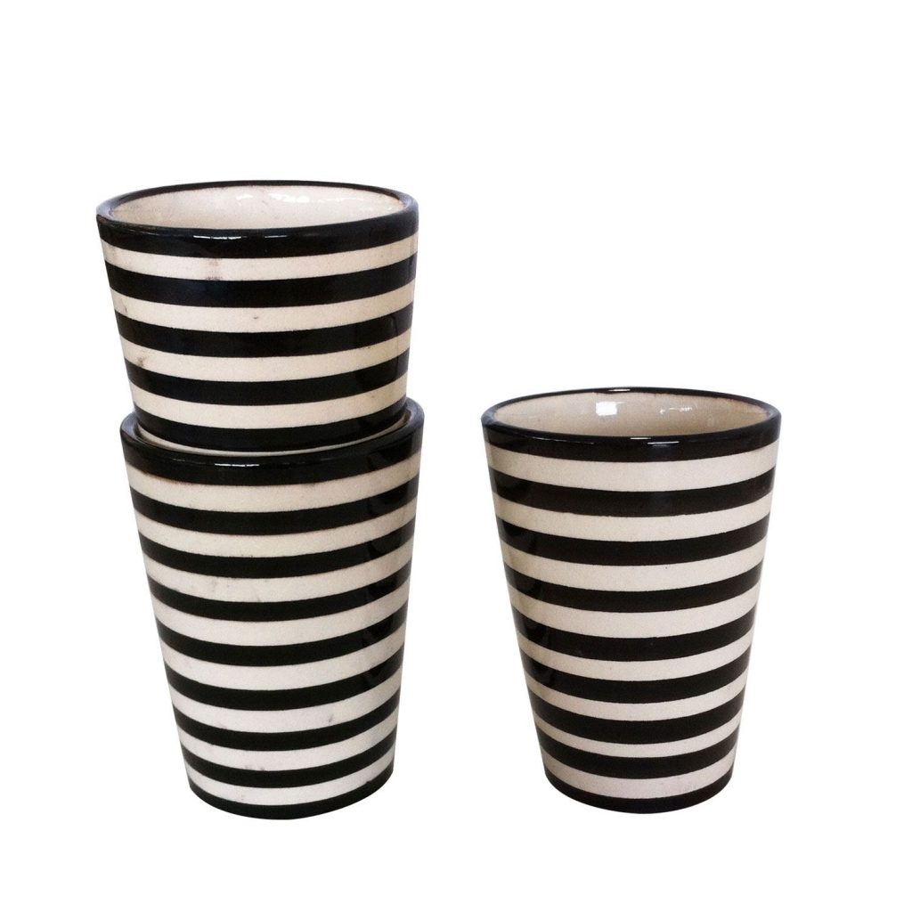 Mug ceramic black stripes
