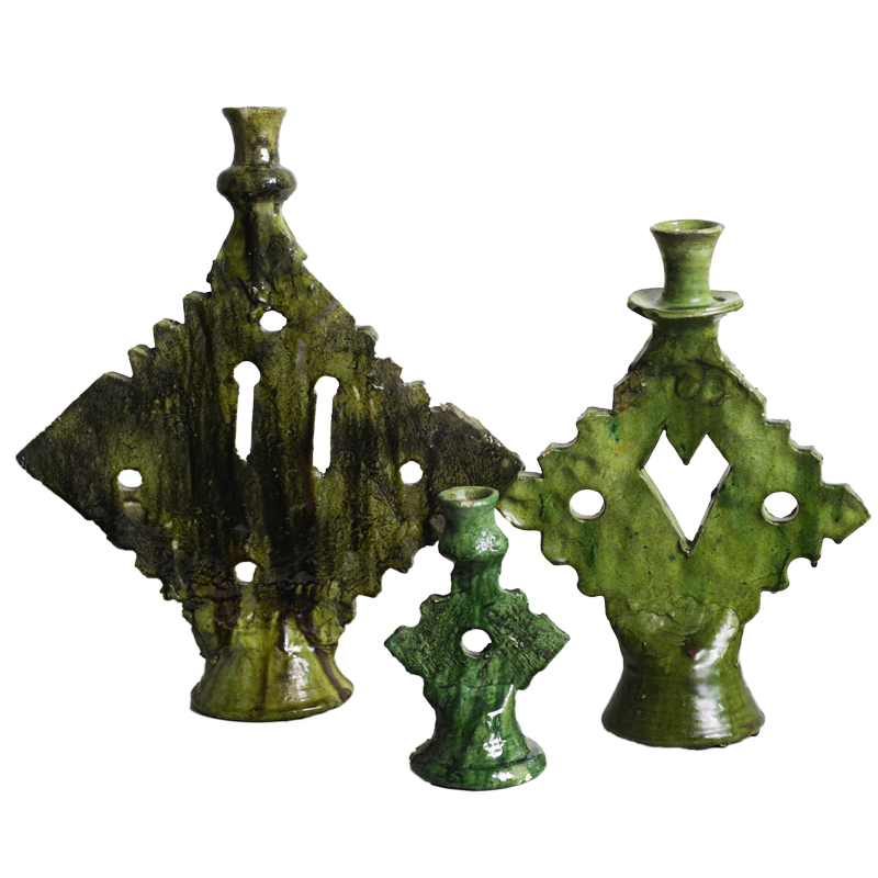 candle holder ornament green/mustard S/M/L