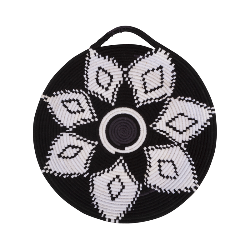 Berber flat basket, black/white, unique piece