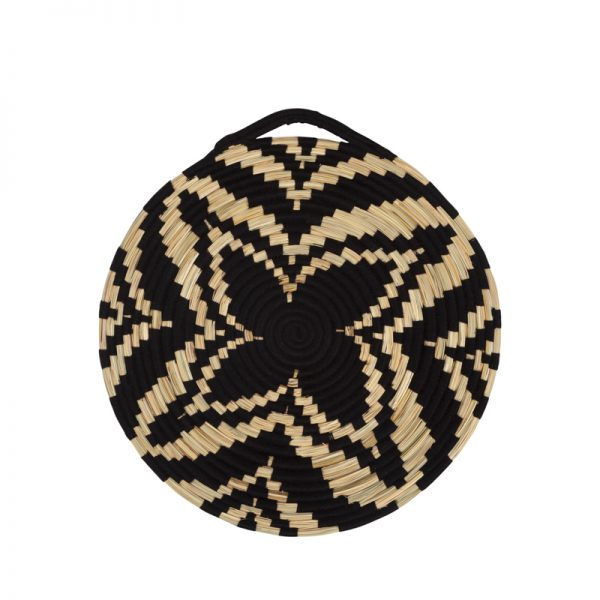 Berber flat basket straw/black, unique piece