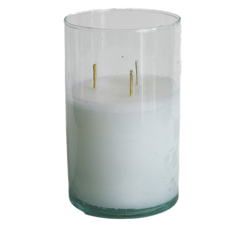 Candle in recycled glass 3 wick S/L
