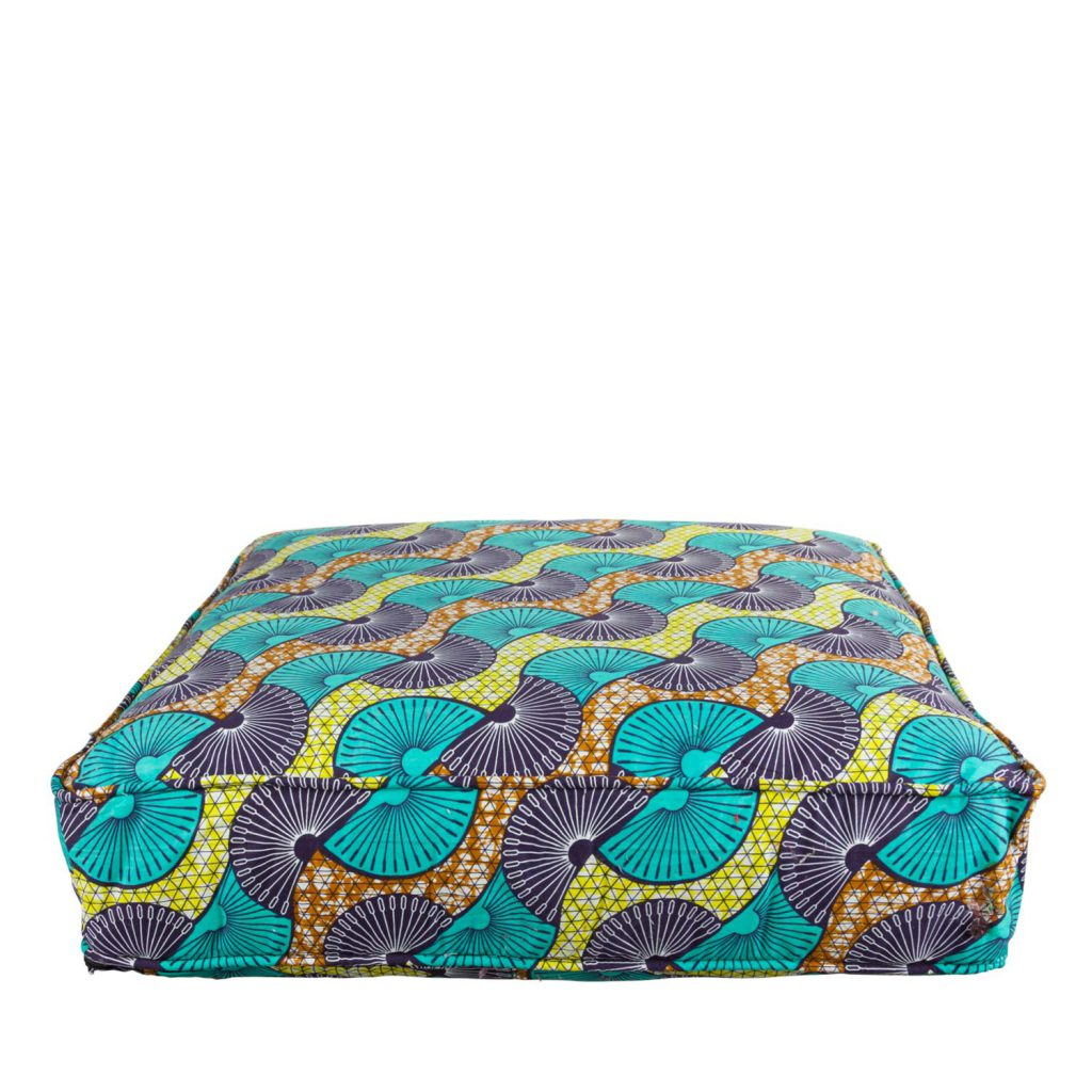 Lounge mattress African print peacock turquoise
