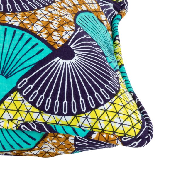 Cushion cover African print peacock turquoise
