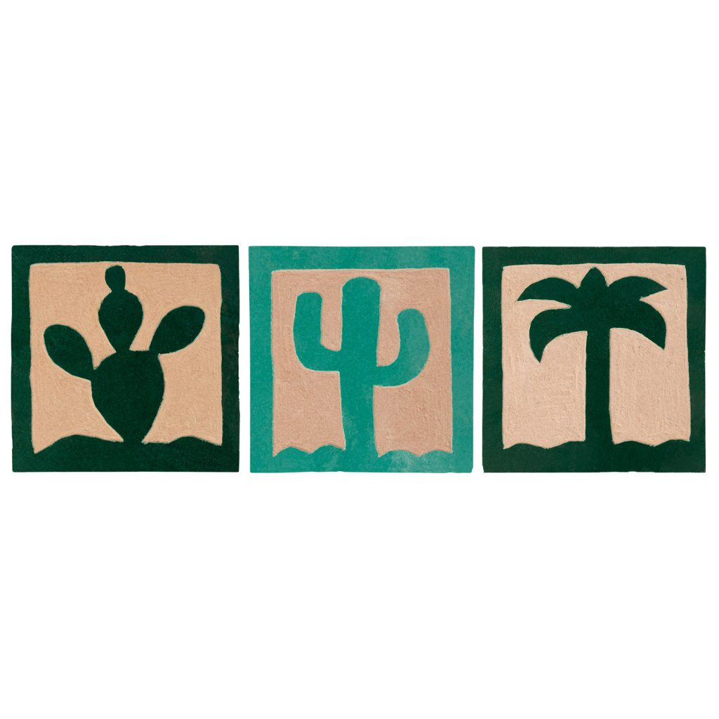 palmtree tile coaster, set of 3.
