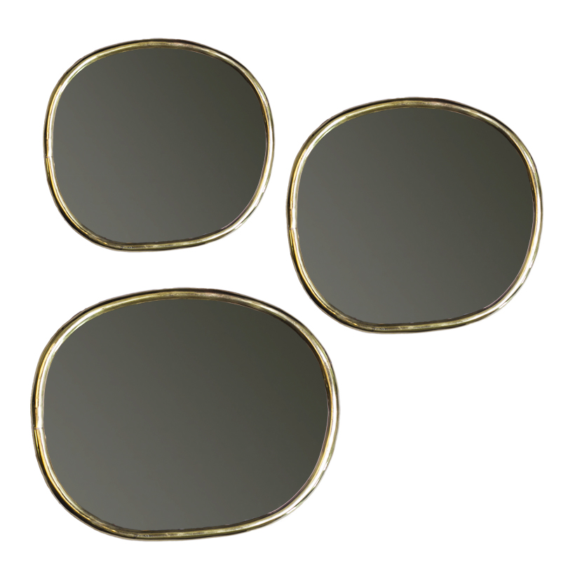 Mirror organic set of three pcs with thin copper edge
