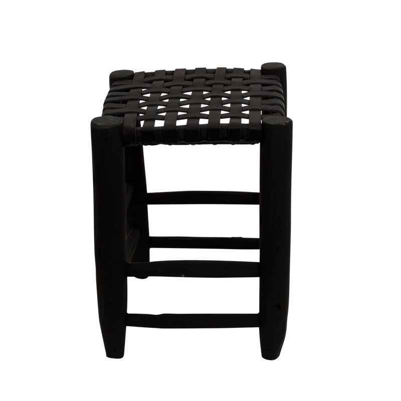 stool L black/black leather seating