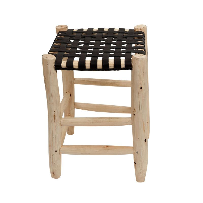 stool L natural/black leather seating