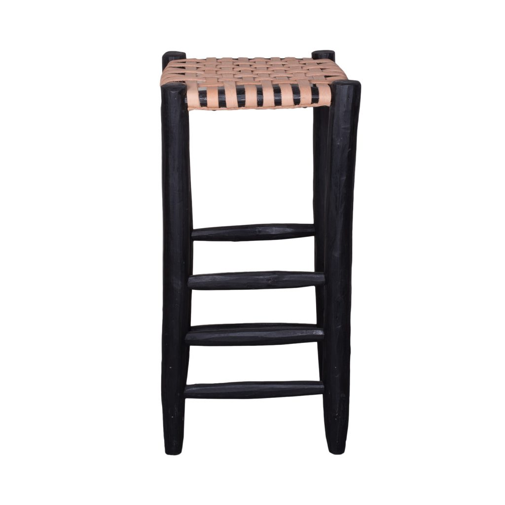 Barstool black with natural leather seating