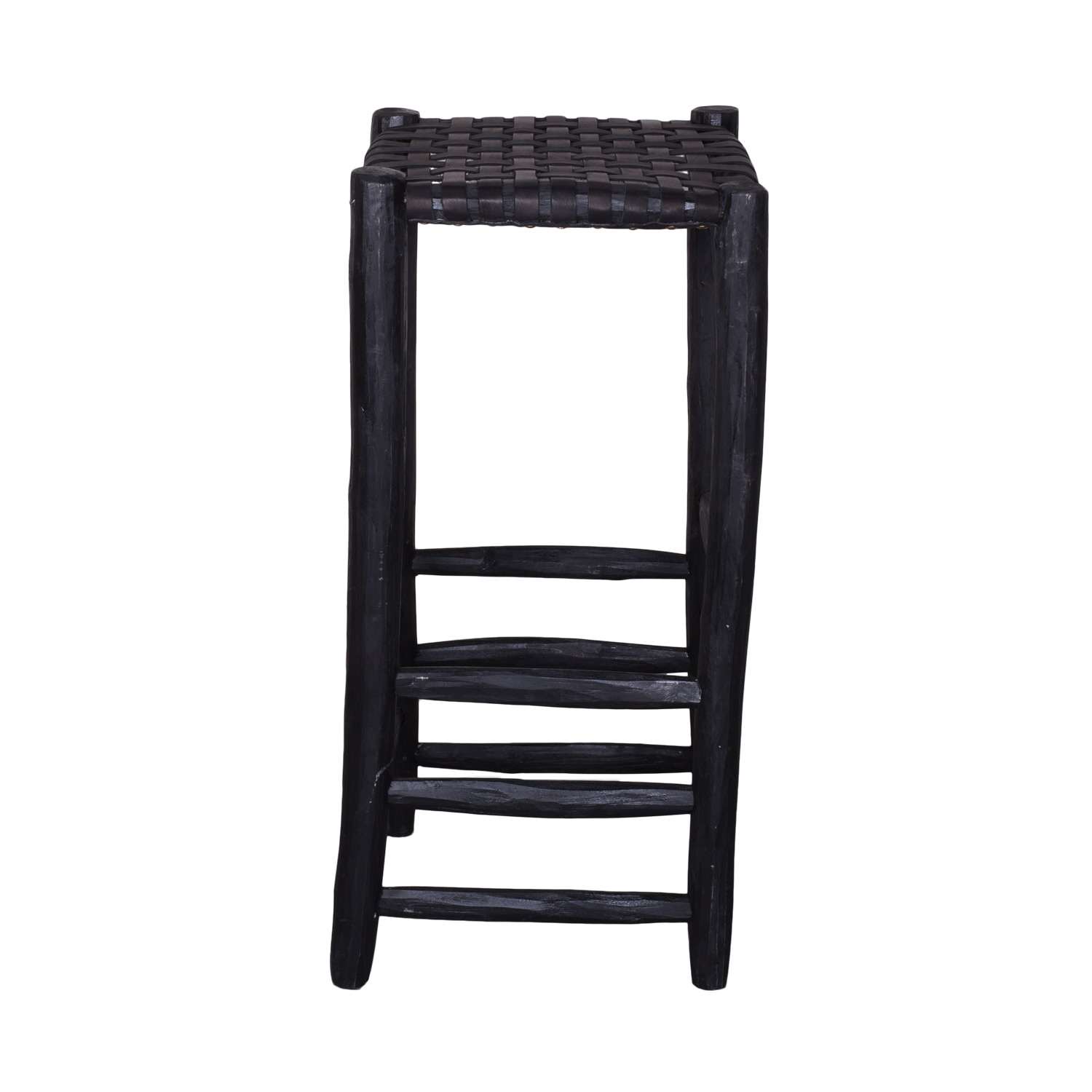 Bar stool black, black leather seating