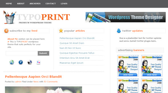 typoprint gratis wordpress template