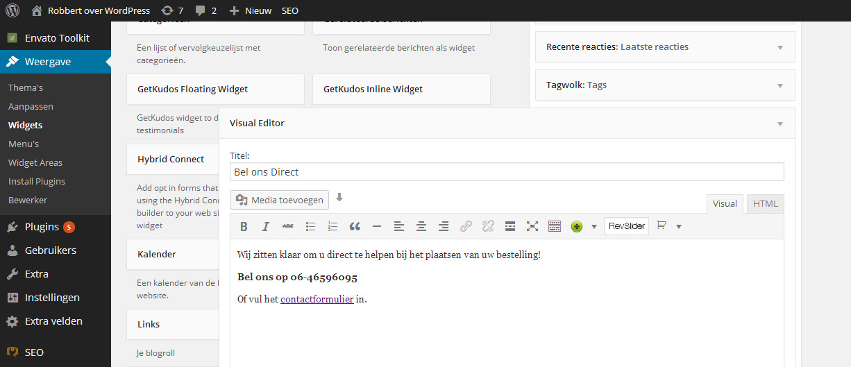 WordPress tekst widget met editor