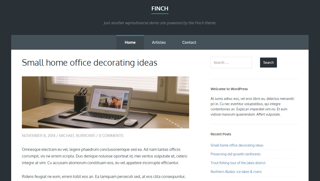 gratis wordpress template finch