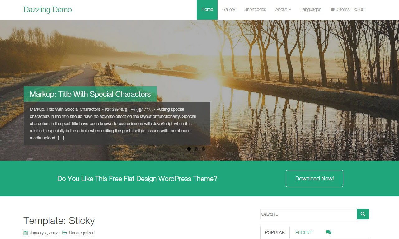 Dazzling Free WordPress theme