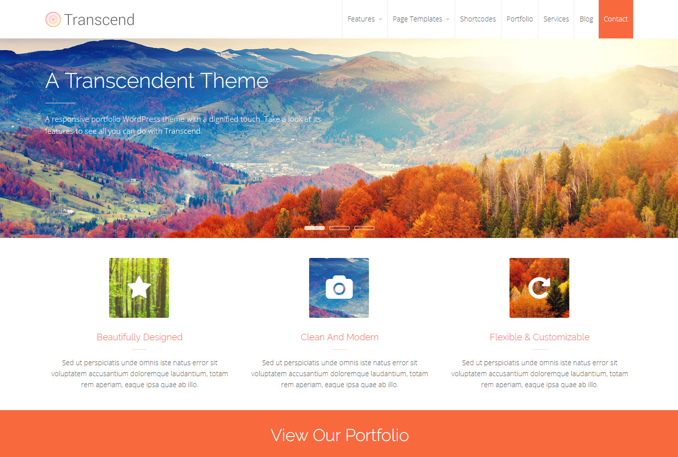 transcend foto thema wordpress