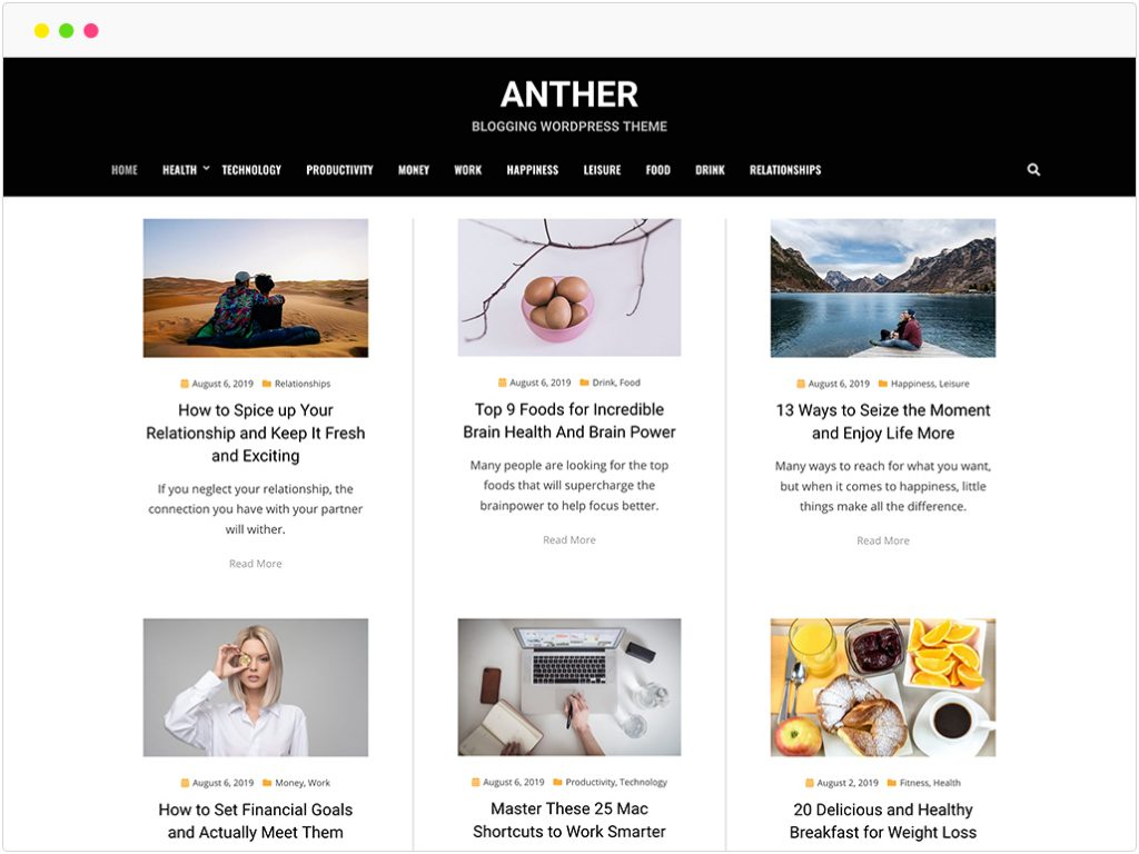 anther gratis blog thema
